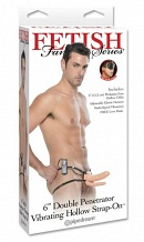 "Двойной полый страпон с вибрацией Fetish Fantasy Series 6"" Vibrating Double Penetrator Hollow Strap-"